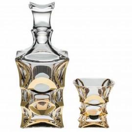 """Набор для виски """"X-LADY GOLD"""", 1 штоф 700 мл + 6 стаканов (240 мл) из хрусталя Crystal Bohemia"""