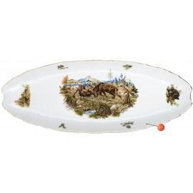 Блюдо для рыбы 52 см декор Охотничьи сюжеты