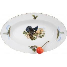Блюдо овальное 24 см декор Охотничьи сюжеты