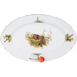 Блюдо овальное 26 см декор Охотничьи сюжеты