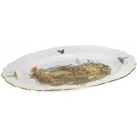 Блюдо овальное 34 см декор Охотничьи сюжеты