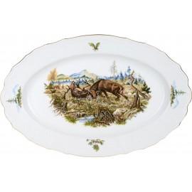 Блюдо овальное 36 см декор Охотничьи сюжеты