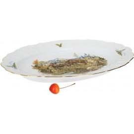Блюдо овальное 39 см декор Охотничьи сюжеты