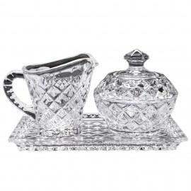 Набор поднос + молочник + сахарница Diamond из хрусталя Crystal Bohemia