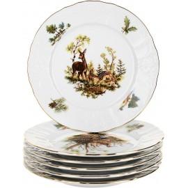 Тарелка десертная 19 см (6 шт) декор Охотничьи сюжеты