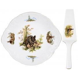 Тарелка для торта с лопаткой 27 см декор Охотничьи сюжеты