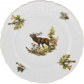 Тарелка мелкая 21 см (6 шт) декор Охотничьи сюжеты