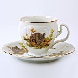 Чашка с блюдцем 140 мм (6 шт) декор Охотничьи сюжеты