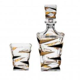 "Набор для виски ""ZIG ZAG GOLD"", 1 штоф 750 мл + 6 стаканов (300 мл) из хрусталя Crystal Bohemia"