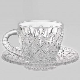"Набор для кофе ""Mokko"" Diamond 2 чашки + 2 блюдца из хрусталя Crystal Bohemia"