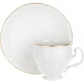 Чашка с блюдцем 140 мм (6 шт) декор Отводка золото