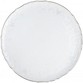 Блюдо мелкое круглое 32 см декор Деколь отводка платина