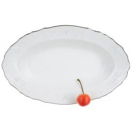 Блюдо овальное 26 см декор Деколь отводка платина