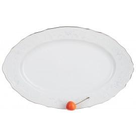 Блюдо овальное 34 см декор Деколь отводка платина