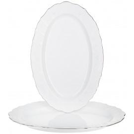 Блюдо овальное 36 см декор Деколь отводка платина