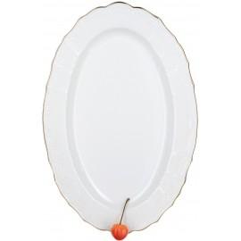 Блюдо овальное 39 см декор Деколь отводка платина