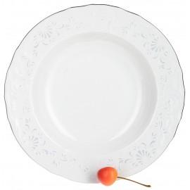 Тарелка глубокая 23 см декор Деколь отводка платина