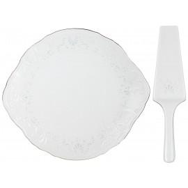 Тарелка для торта с лопаткой 27 см декор Деколь отводка платина