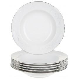 Тарелка мелкая 25 см декор Деколь отводка платина
