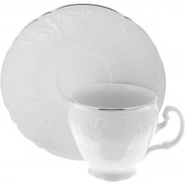 Чашка с блюдцем 140 мм (6 шт) декор Деколь отводка платина