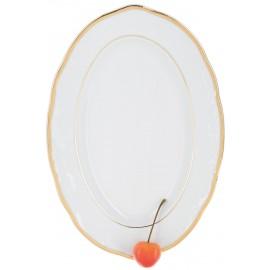 Блюдо овальное 24 см Белоснежный тюльпан золотые держатели