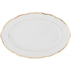 Блюдо овальное 32 см Белоснежный тюльпан золотые держатели