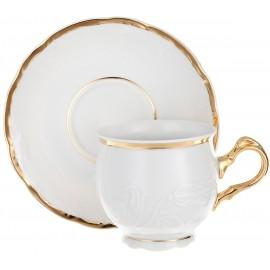 Чашка с блюдцем 145 мм Белоснежный тюльпан золотые держатели