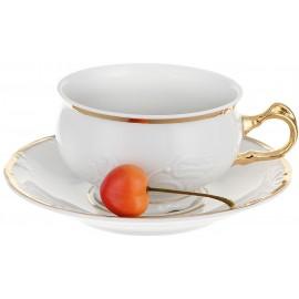 Чашка с блюдцем 165 мм Белоснежный тюльпан золотые держатели
