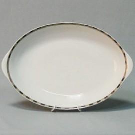 Блюдо овальное Опал 36 см декор Платиновые пластинки отводка платина