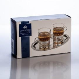 Набор для чая (поднос и 2 стакана)