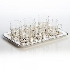 Набор для чая (поднос 34 на 25 см и 6 стаканов)