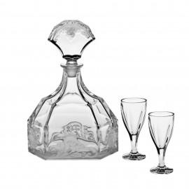 """Набор для ликёра """"PATRICIEN"""", 1 штоф 604 мл + 6 стаканов (50 мл) из хрусталя Crystal Bohemia"""