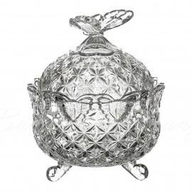 Доза BUTTERFLY 13,5 см. круглая из хрусталя Crystal Bohemia