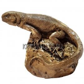 Статуэтка ящерица на камне бронзовое напыление
