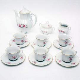 Кофейный сервиз 15 пр. Болеро OMD002 Бледная Роза из фарфора Crystalex
