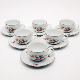 Чайная пара 6 шт. Ивон OMD1811 Мейсенский букет из фарфора Crystalex