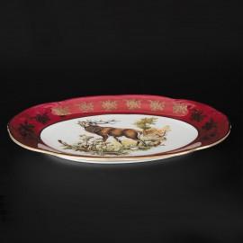 Блюдо овальное 38 см. Мария ТерезаOMD1051/2 Охота красная из фарфора Crystalex