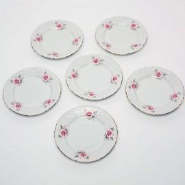 Тарелка десертная 17 см. 6шт. Рококо OMD002 Бледная Роза из фарфора Crystalex