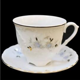 Кофейный сервиз 15пр Rococo 9706 голубой цветок из фарфора Сmielow