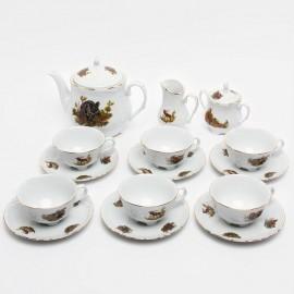 Чайный сервиз 15 пр. Рококо OMD1051 Охота белая из фарфора Crystalex