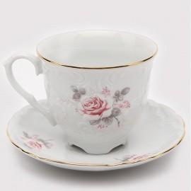 Кофейная чашка 170 мл. 6 шт. Рококо OMD002 Бледная Розаиз фарфора Crystalex