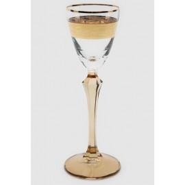 Рюмка Элизабет Q8087 коричневый с золотом и панто 70 мл. 6 шт. Crystalex Bohemia