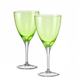Бокалы для вина Кейт 40796 Colours зелёные 250 мл. 2 шт. Crystalex Bohemia