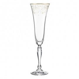 Бокалы для шампанского Виктория Q7917 золотая полоса+панто 180 мл. 6 шт. Crystalex Bohemia