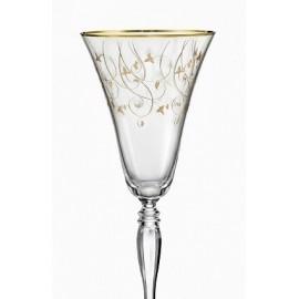 Бокалы для вина Виктория Q7917 золотая полоса+панто 190 мл. 6 шт. Crystalex Bohemia