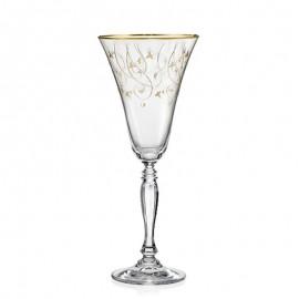 Бокалы для вина Виктория Q7917 золотая полоса+панто 230 мл. 6 шт. Crystalex Bohemia