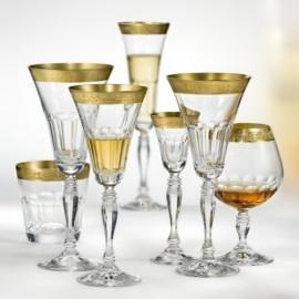 Бокалы для бренди Виктория Q7819 срезы+золото 380 мл. 6 шт. Crystalex Bohemia