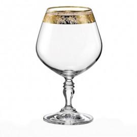 Бокалы для бренди Виктория Q7884 Панто на золоте 380 мл. 6 шт. Crystalex Bohemia