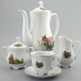 Кофейный сервиз 15 пр. Рококо OMD1051 Охота белая из фарфора Crystalex