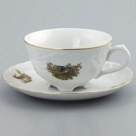Чайные пары 6 шт. Рококо OMD1051 Охота белая из фарфора Crystalex